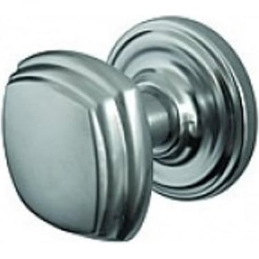 Satin Chrome Mortice Knob On Round Rose (JV64SC)
