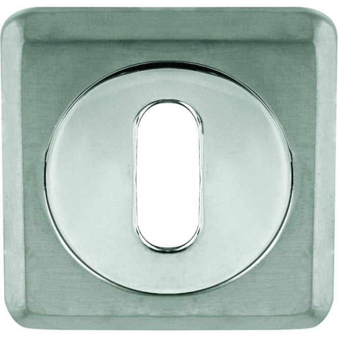 Frelan Hardware Standard Polished Chrome/Satin Chrome Square Key Escutcheon (JV3005PCSC)