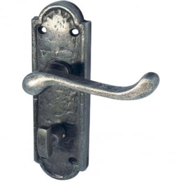 Turnberry Antique Pewter Bathroom Lock On Backplate Handle (PEW300B)