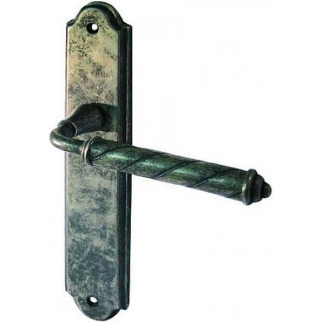 Frelan Hardware Venezia Tin Lever Latch On Backplate Handle (JV581T)