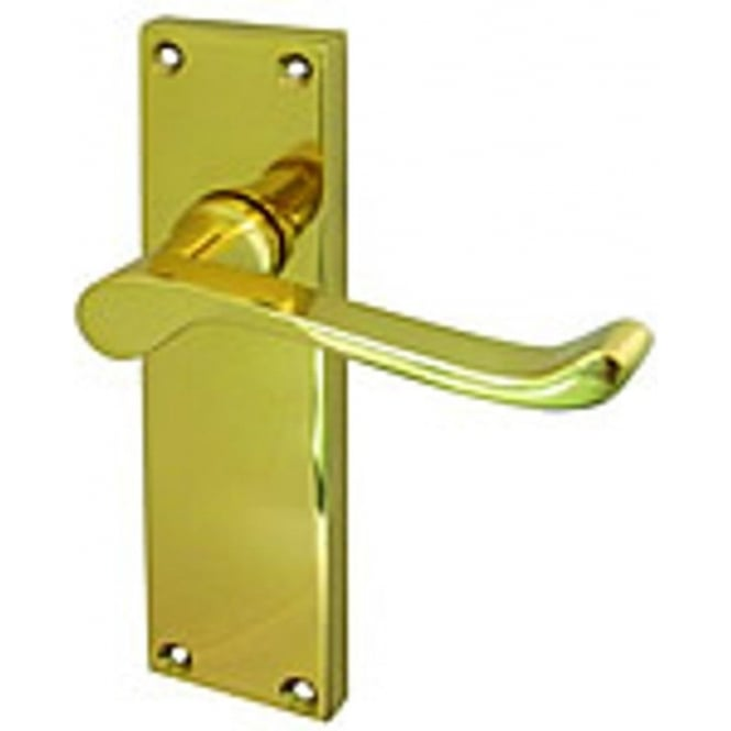 Frelan Hardware Victorian Scroll Polished Brass Lever Latch On Long Backplate Handle (JV11LPB)