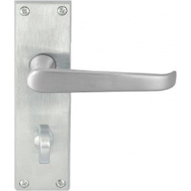 Victorian Straight JV30BSC Satin Chrome Bathroom Lever On Long Backplate Handle