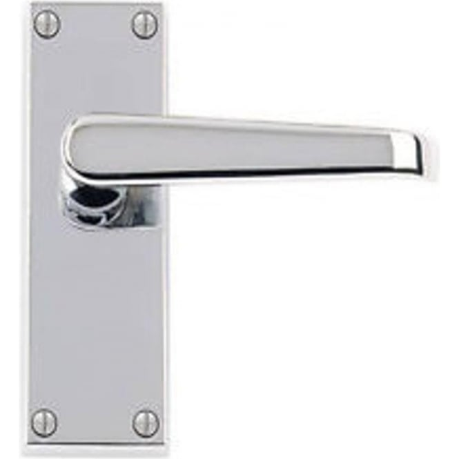 Victorian Straight JV31LPC Polished Chrome Lever Latch On Long Backplate Handle