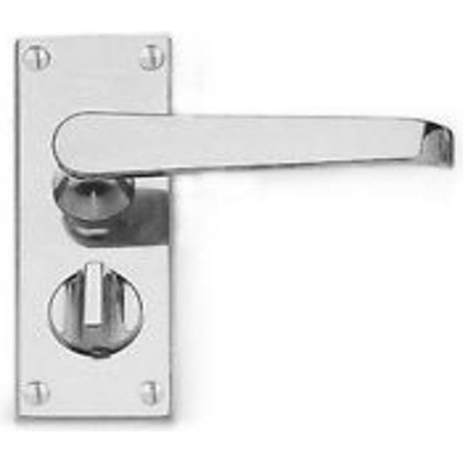 Frelan Hardware Victorian Straight Polished Chrome Privacy Lock On Short Backplate Handle (JV31PRPC)