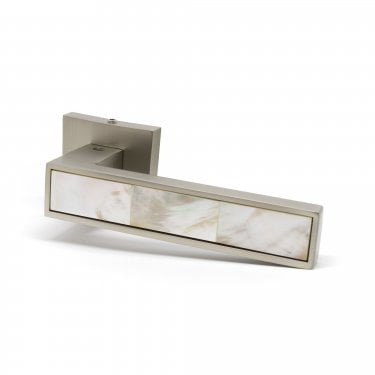 Oro Oro Mother Of Pearl Lever on Square Rose - Polished Nickel (ORO.PEARL.PULL.PN)
