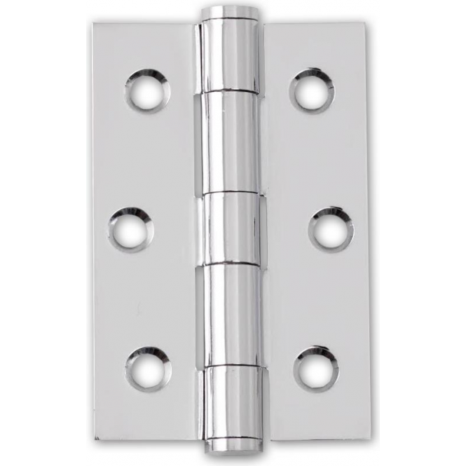 Polished Chrome 75mm Button Tipped Hinge