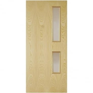 Internal Ash Fully Finished Crown Cut GC05 2L Flush FD30 Fire Door with Clear Glass (ASHOVF+GC05)