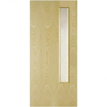 Internal Ash Fully Finished Crown Cut GC06 1L Flush FD30 Fire Door with Clear Glass (ASHOVF+GC06)