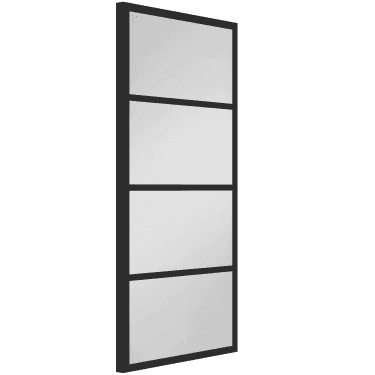 Internal Black Fully Finished Industrial Strand 4L 50mm Stile Door with Clear Glass (WK6328-RAL9017)