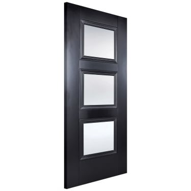Internal Black Primed Amsterdam 3L Door with Clear Glass (AMSBLAGL)