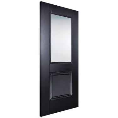Internal Black Primed Arnhem 1L Door with Clear Glass (ARNBLAGL)