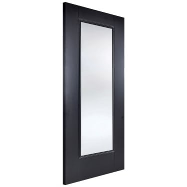 Internal Black Primed Eindhoven 1L Door with Clear Glass (EINBLAGL)