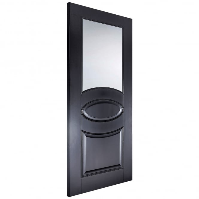 LPD Internal Black Primed Versailles Oval Door with Clear Glass