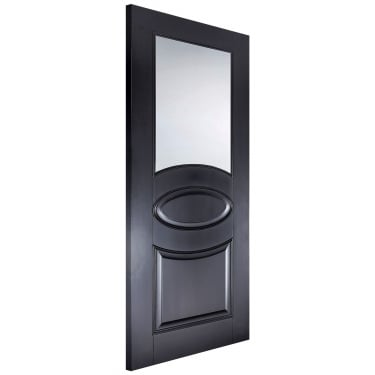 Internal Black Primed Versailles Oval Door with Clear Glass