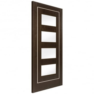 Internal Brown Ash Fully Finished Inlay 4L Flush Door with Clear Glass (BASH1PSC4+GCF)