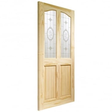 Internal Clear Pine Unfinished Rio 2L Door with Crystal Rose Glass (GCPRIOFG)