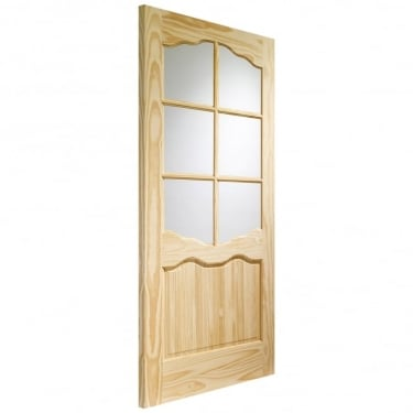 Internal Clear Pine Unfinished Riviera 6L Door with Clear Glass (GCPRIV)