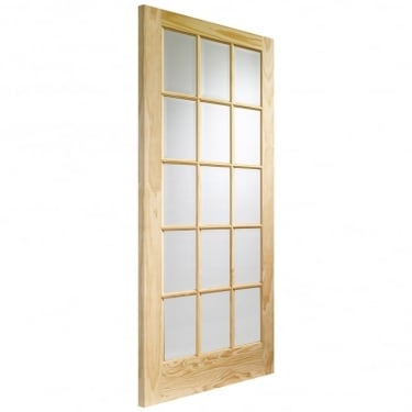 Internal Clear Pine Unfinished SA77 15L Door with Clear Glass (GCPSA)