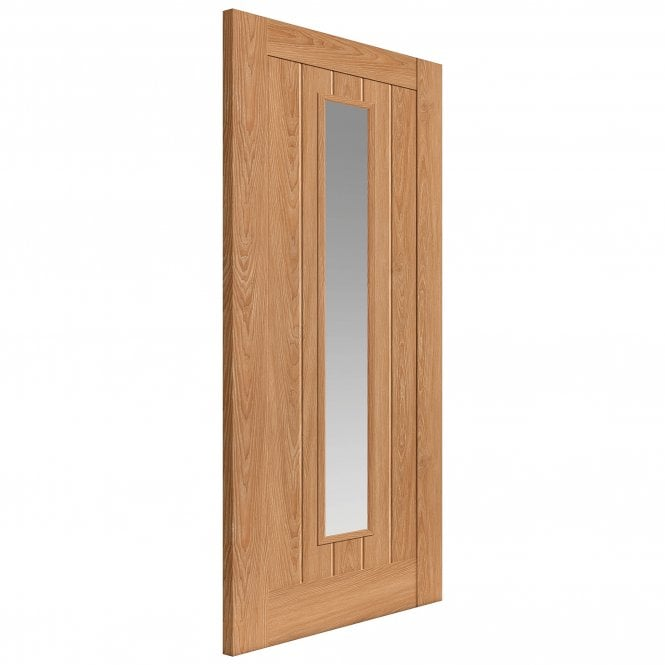JB Kind Doors Internal Fully Finished Oak Hudson Laminate Door With Clear Glass