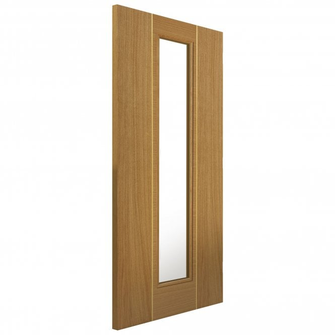 Internal Fully Finished Roma Oak Juno Door With Clear Glass