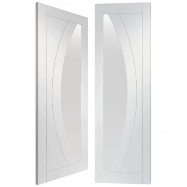Internal Fully Finished White Primed Salerno Pair Door with Clear Glass