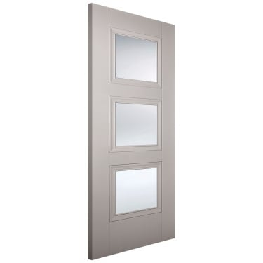 Internal Grey Primed Amsterdam 3L Door with Clear Glass (AMSGREGL)