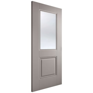 Internal Grey Primed Arnhem 1L Door with Clear Glass (ARNGREGL)