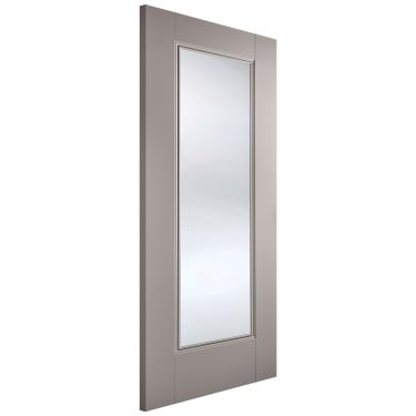 Internal Grey Primed Eindhoven 1L Door with Clear Glass