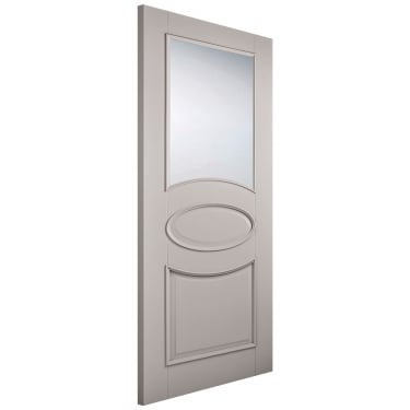 Internal Grey Primed Versailles 1L Door with Clear Glass and Raised Mouldings (VERGREGL)