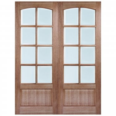 Internal Hardwood Unfinished Worthing 16L Pair Door with Clear Bevelled Glass (PRSWORGL)