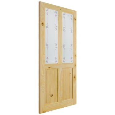 Internal Knotty Pine Unfinished Richmond 2L Door with Bluebell Glass (KPRICBL)