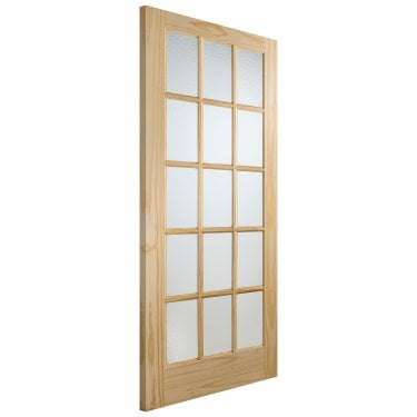 Internal Knotty Pine Unfinished SA77 15L Door with Flemished Glass (GKPFLSA)