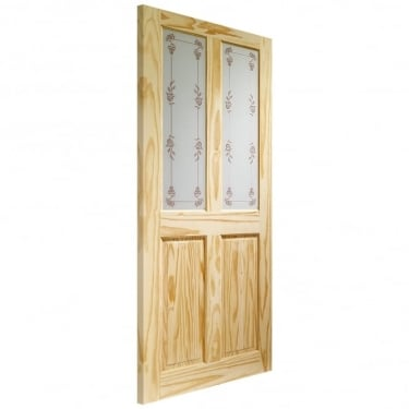 Internal Knotty Pine Unfinished Victorian 2L Door with Bluebell Glass (GKPVICB)
