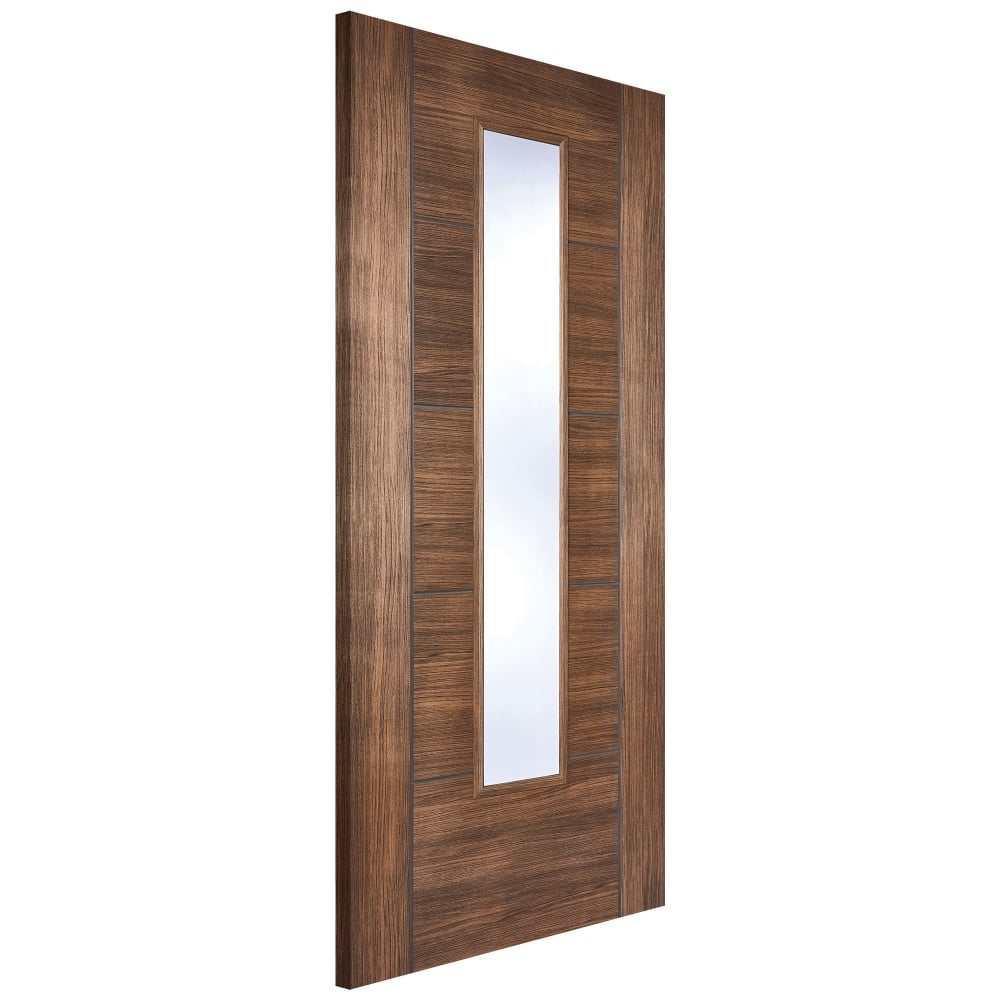 Internal Laminate Walnut Vancouver Door with Clear Glass  sc 1 st  Leader Doors & LPD Internal Laminate Walnut Vancouver Door with Clear Glass ...