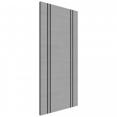 Internal Light Grey Ash Fully Finished Flush FD30 Fire Door with Dark Grey Ash Vertical Inlays (45FLUSHLGIF/DXFSC)
