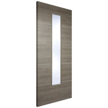 Internal Light Grey Fully Finished Laminate Santandor 1L Door with Clear Glass (LAMLGRSANGL)