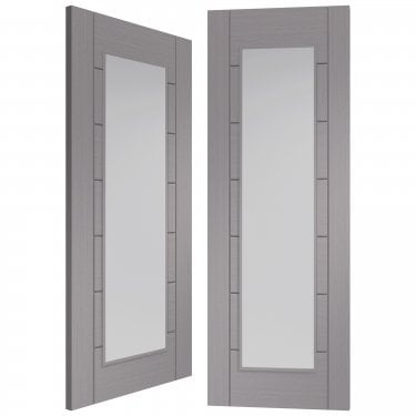 Internal Light Grey Fully Finished Palermo 1L Pair Door with Clear Glass (PFGLGPPAL1L)