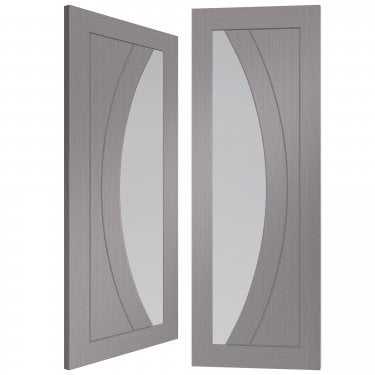 Internal Light Grey Fully Finished Salerno 1L Pair Door with Clear Glass (PFGLGPSAL)