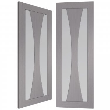 Internal Light Grey Fully Finished Verona 2L Pair Door with Clear Glass (PFGLGPVER)
