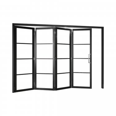 Internal Matt Black Fully Finished Room Fold Slim-Line 4L Room Divider with Clear Glass (RFBSHK4G)