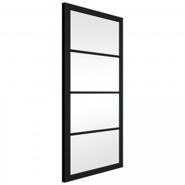 Internal Matt Black Fully Finished Slim-Line 4L Door with Clear Glass (BLSHAK4+GCF)
