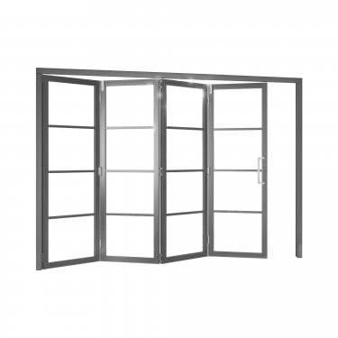 Internal Matt Grey Fully Finished Room Fold Slim-Line 4L Room Divider with Clear Glass (RFGSHK4G)