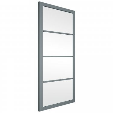 Internal Matt Grey Fully Finished Slim-Line 4L Door with Clear Glass (GRSHAK4+GCF)
