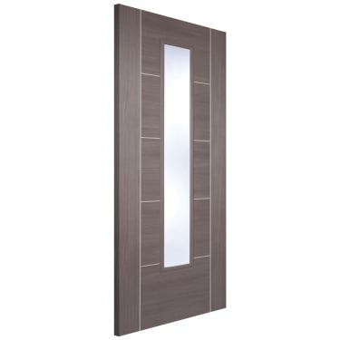 Internal Medium Grey Fully Finished Laminate Vancouver 1L Door with Clear Glass (LAMMGRVANGL)