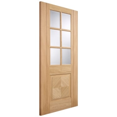 Internal Oak Fully Finished Barcelona 6L/1P Door with Clear Bevelled Glass
