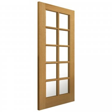 Internal Oak Fully Finished Classic Gisburn 10L Solid Door with Clear Glass (VSO10LG)