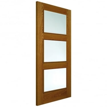 Internal Oak Fully Finished Classic Royale R-03-3V 3L Solid Door with Clear Glass and Raised Mouldings (R033V-O)