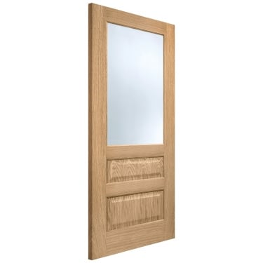 Internal Oak Fully Finished Contemporary 1L/2P Door with Frosted Glass