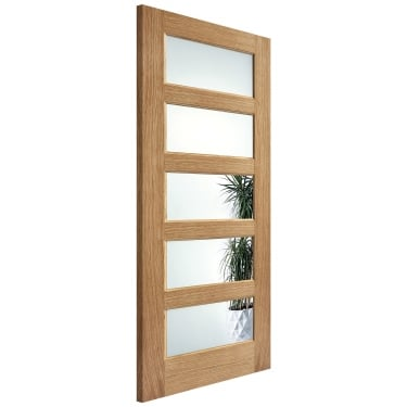 Internal Oak Fully Finished Contemporary 5L Door with Clear Glass (PFOCON5CG)