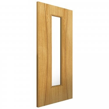 Internal Oak Fully Finished Contemporary Arcos 1L Door with Clear Glass (EARCG)